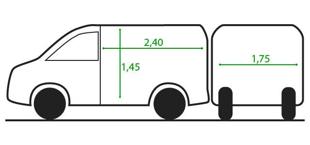 Alquiler de furgoneta en cordoba 6 7m3 esquema medidas for Furgonetas en cordoba
